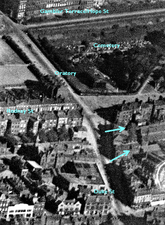 Plausible exit point for tunnel from St James' cemetery as of 1924 annotated.png