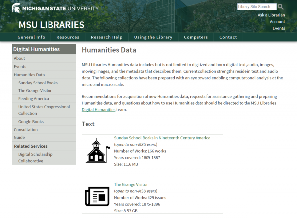 MSU Libraries Digital Humanities text and data collections