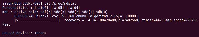 Ubuntu | cat /proc/mdstat