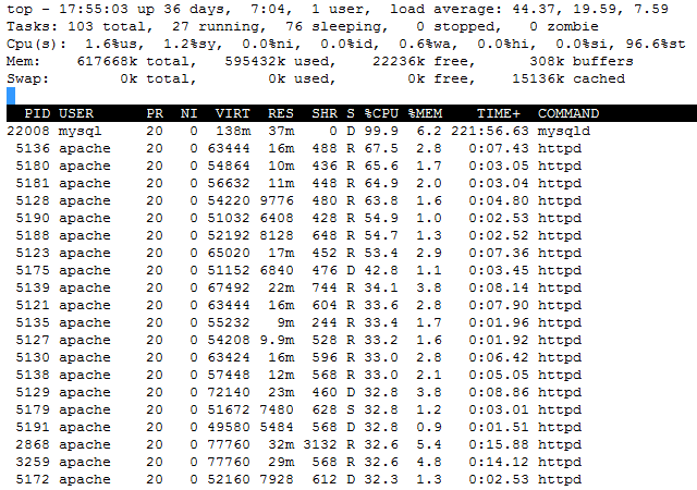 CentOS Top | WordPress CPU Usage