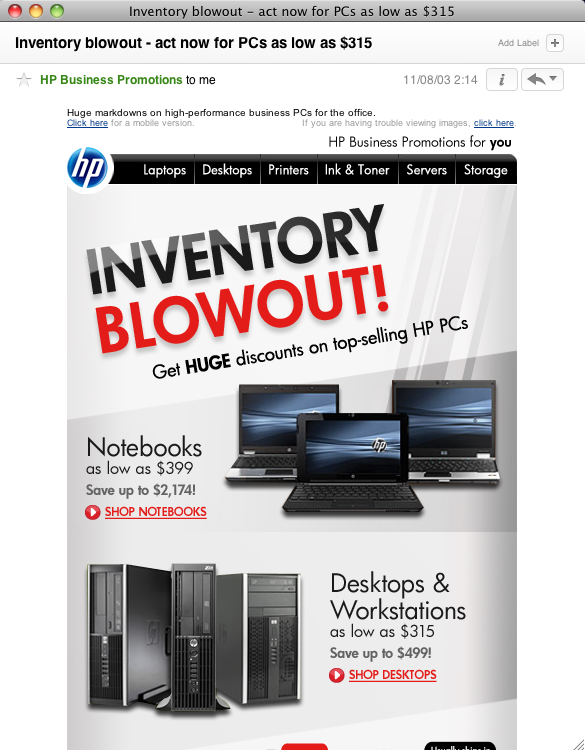 HP Advertisement | Inventory Blowout