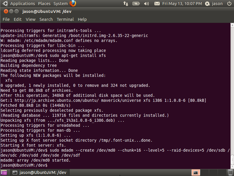 Ubuntu | mdadm started