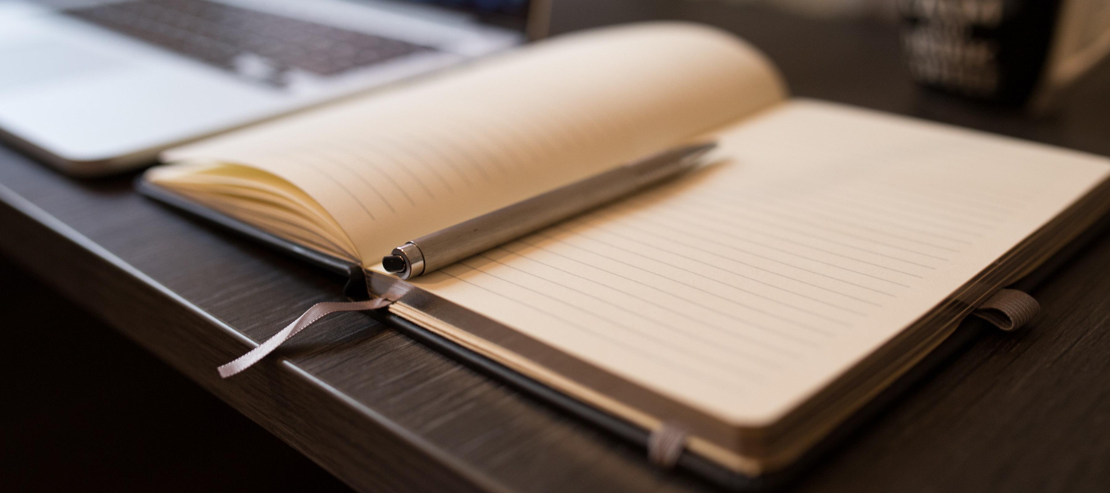 Notebook on a Desk