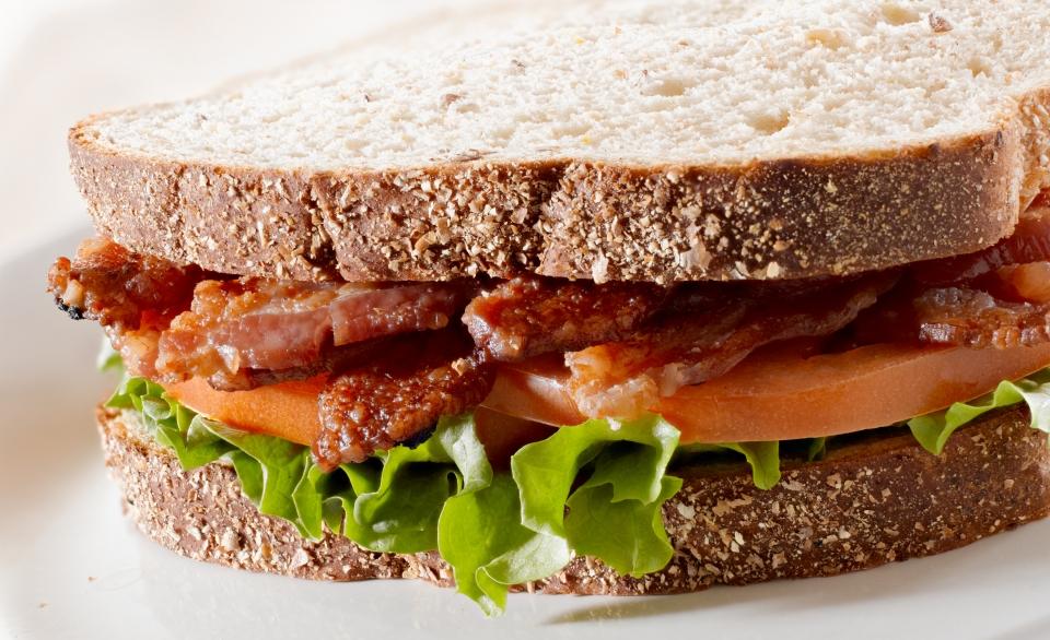 Basil Bacon Lettuce and Tomato Sandwich