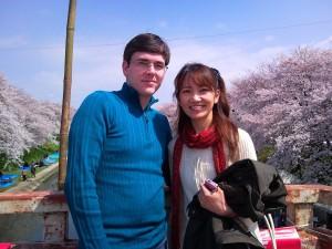 Reiko and I on the Bridge Over the Sakai River